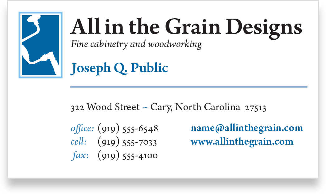 Business card for All in the Grain Designs