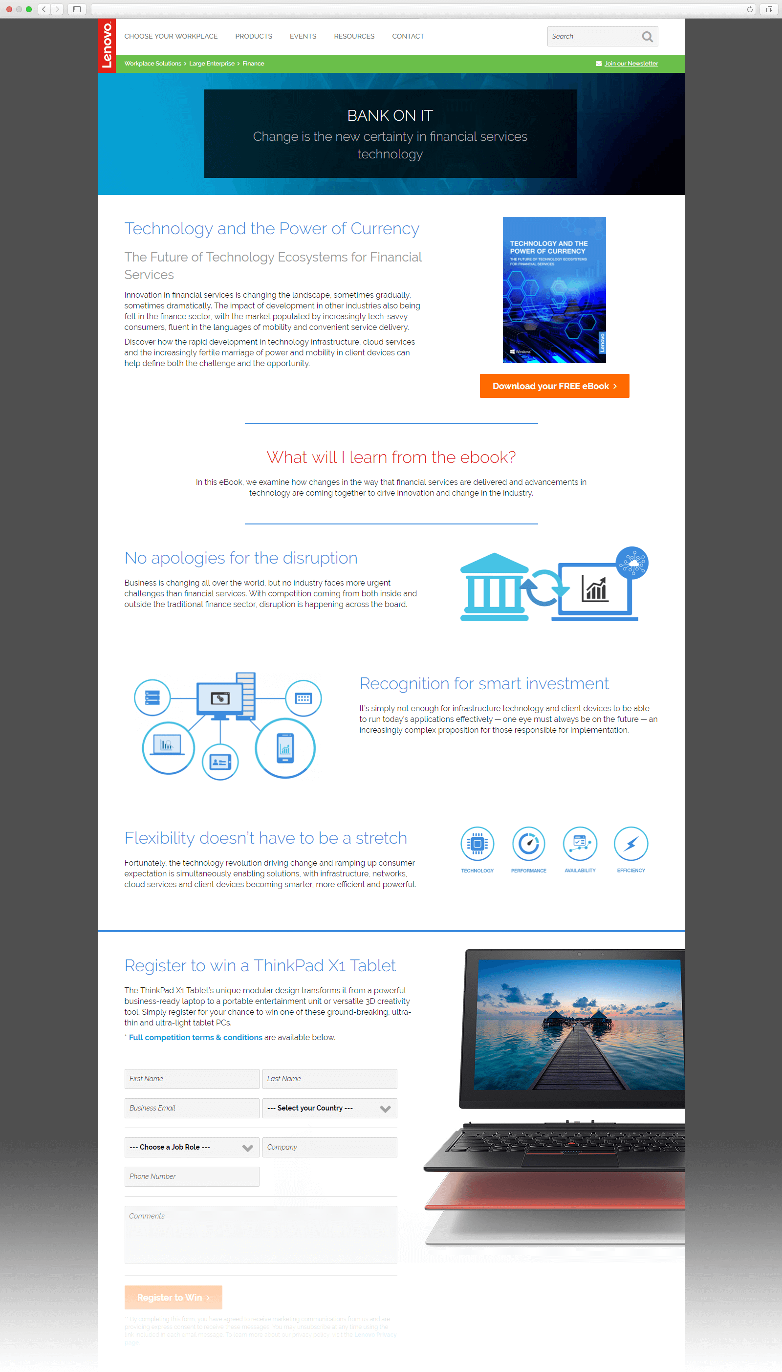 Partial screen shot of the Large Enterprise Financial Solutions page on solutions.lenovo.com