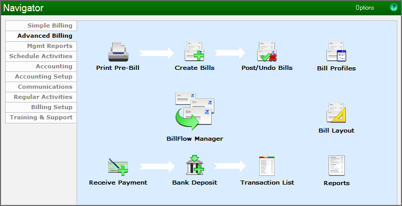 Example showing the Advanced Billing Navigator
