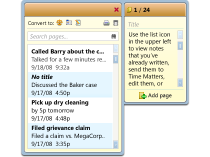 Example of the Time Matters Legal Pad Desktop Extension, showing quick notes entered about matters, including title, brief description, and time/date stamp