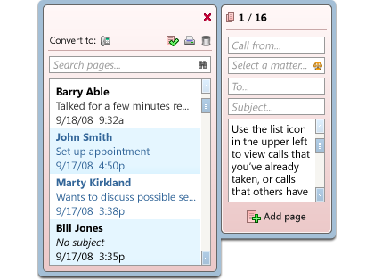 Example of the Time Matters Phone Pad Desktop Extension. Similar to the Legal Pad, this Extension relates specifically to phone messages, showing title, brief description, and time/date stamping