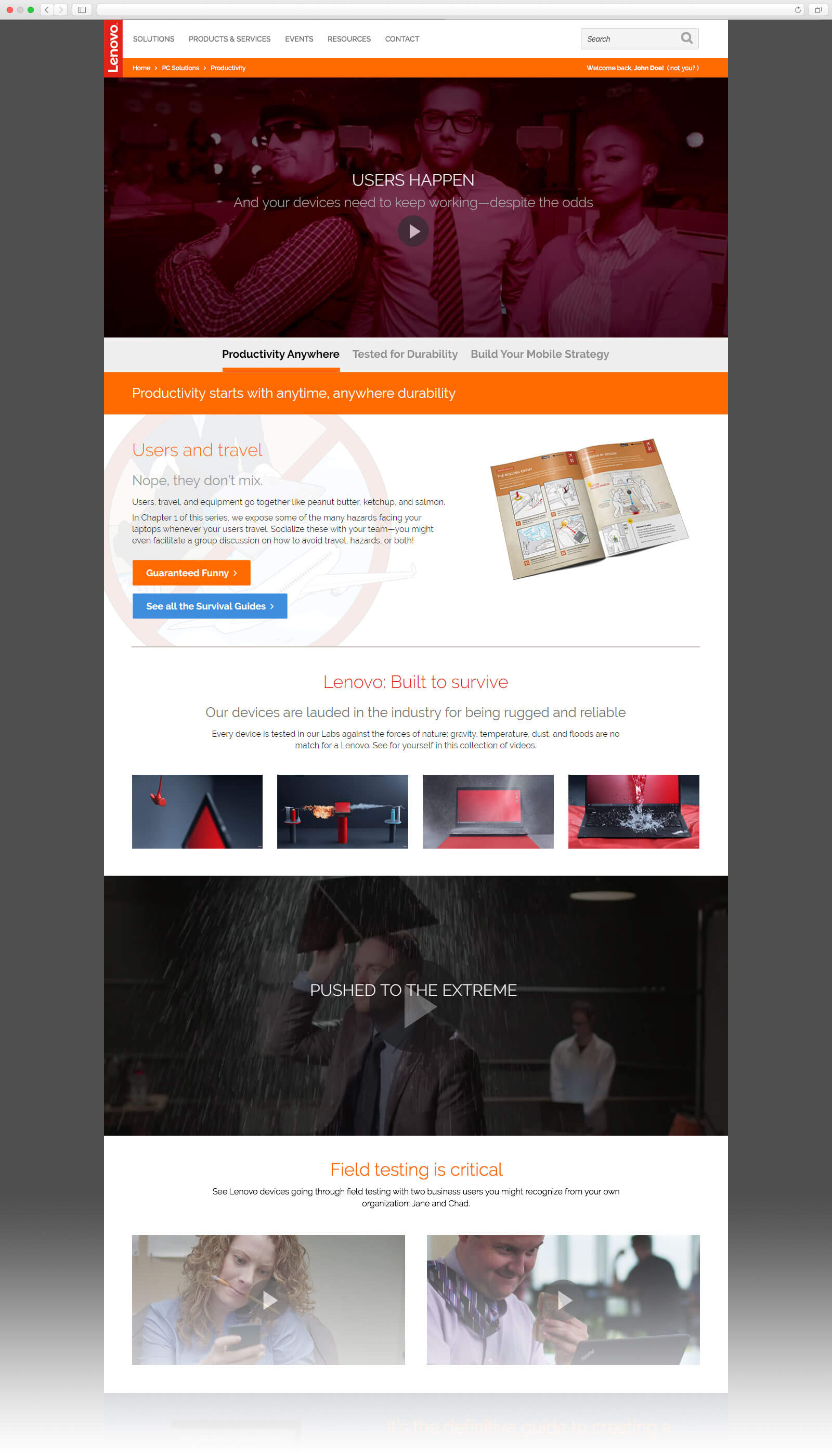 Mock-up of the Productivity Solutions page, created for the solutions.lenovo.com website