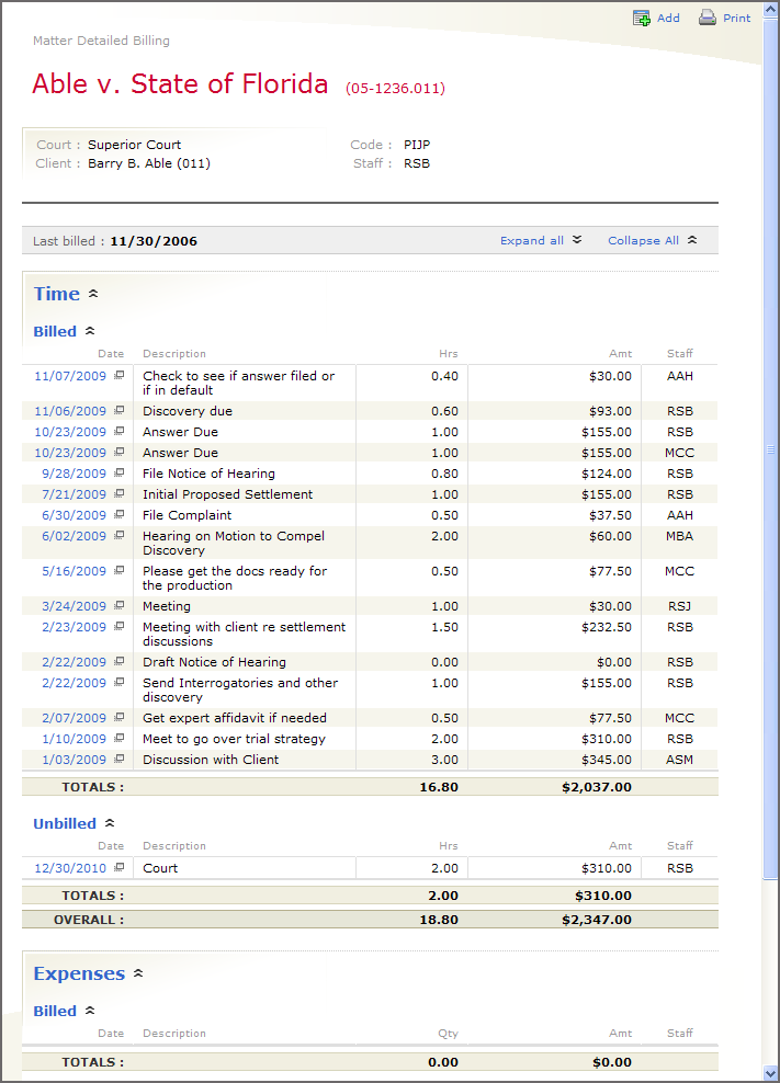 Example of the Detailed Billing PowerView