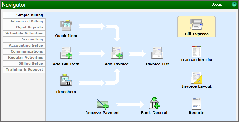 Example showing the Simple Billing Navigator