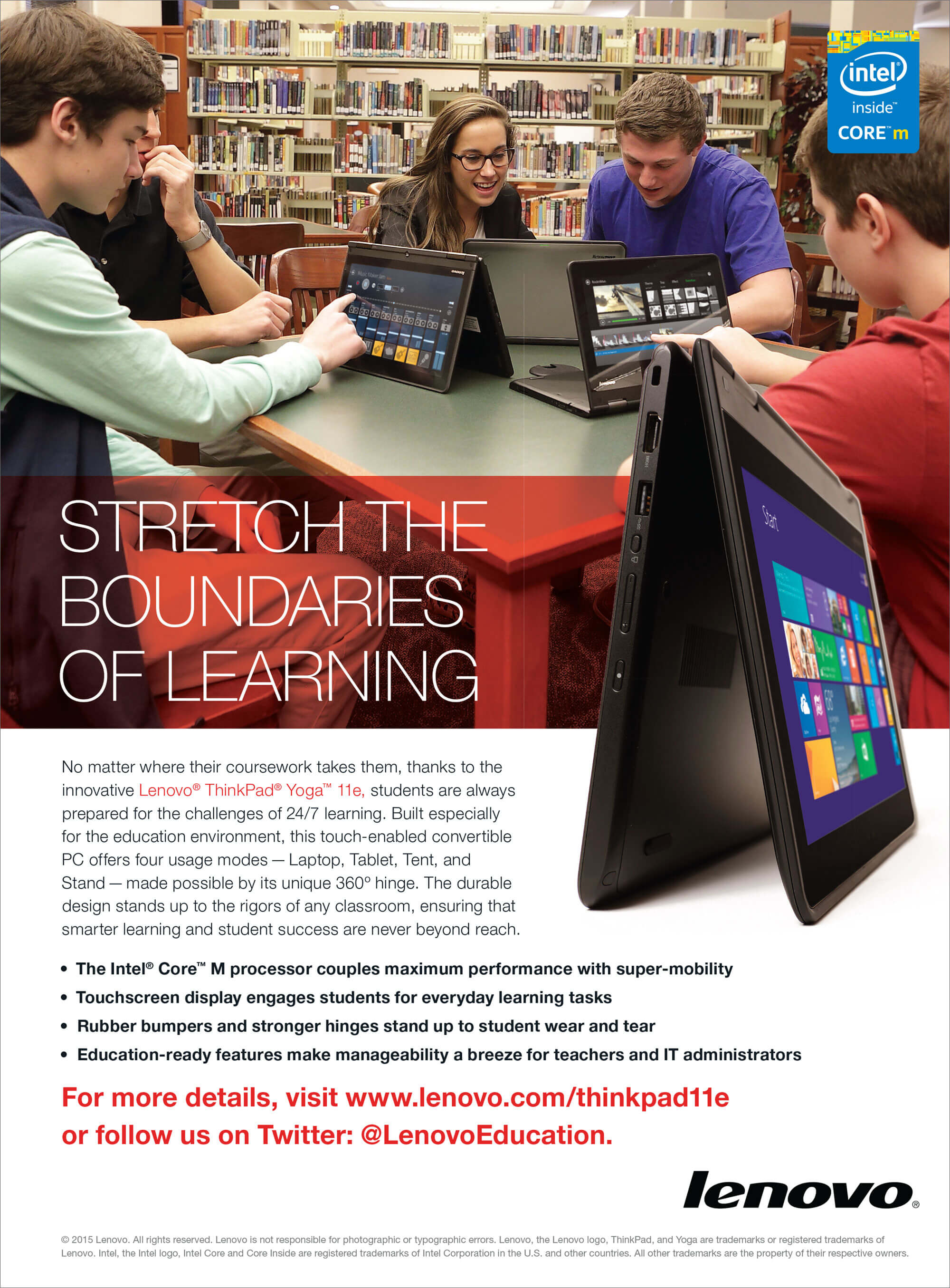 Full-page ad for the ThinkPad 11e, targeted at the K–12 education market
