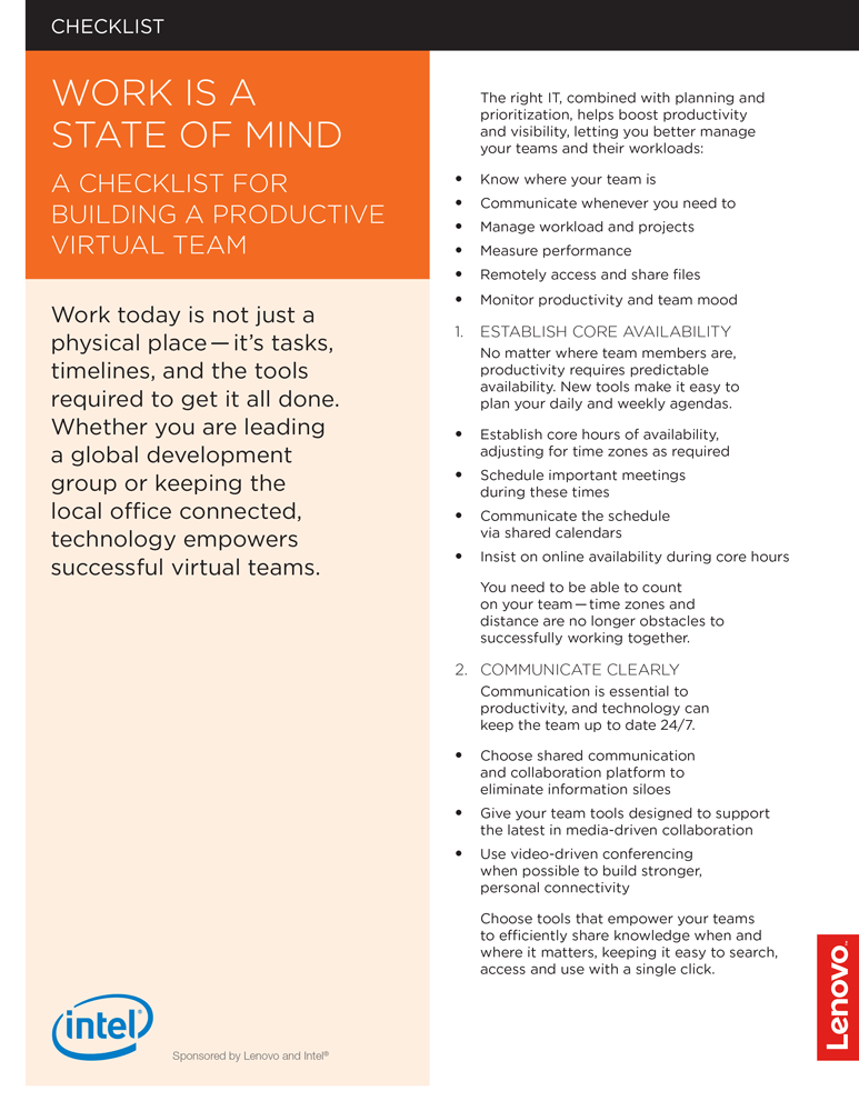 """Front page of """"Work is a State of Mind"""" checklist"""